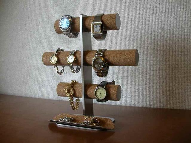 時計愛好家に!8本掛け腕時計スタンドロングハーフパイプトレイバージョン