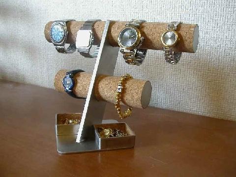 誕生日プレゼントに! 6本掛け腕時計スタンド角トレイバージョン