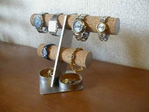 彼氏への贈り物に!6本掛け腕時計スタンド丸トレイバージョン