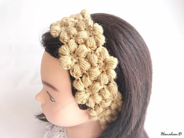 お花のヘアバンド 手編みウールイエロー