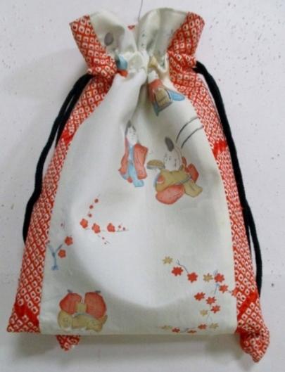 着物リメイク 羽織の裏地と絞りで作った巾着袋 1771