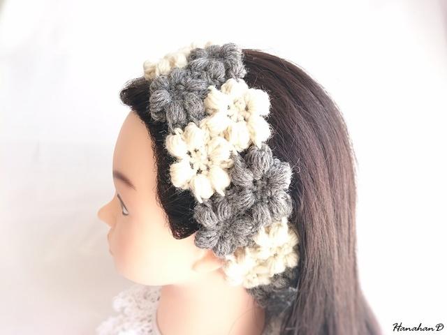 お花のヘアバンド 手編みウールモノクロツートン
