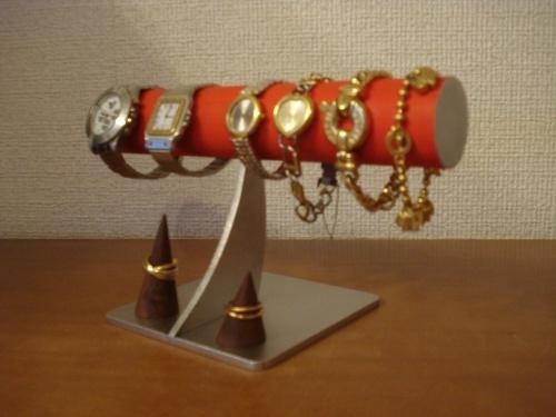 レッド4本掛けシンプル腕時計スタンド 未固定指輪スタンド付き