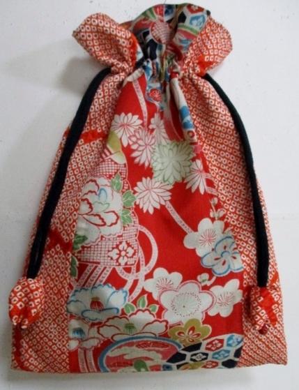 着物リメイク 女の子の着物で作った巾着袋 1772