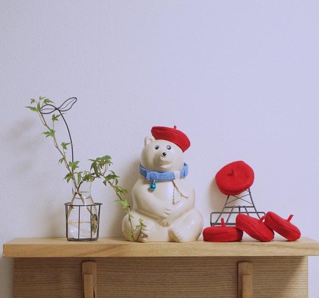 【再販】 赤色 プレッピーなベレー帽