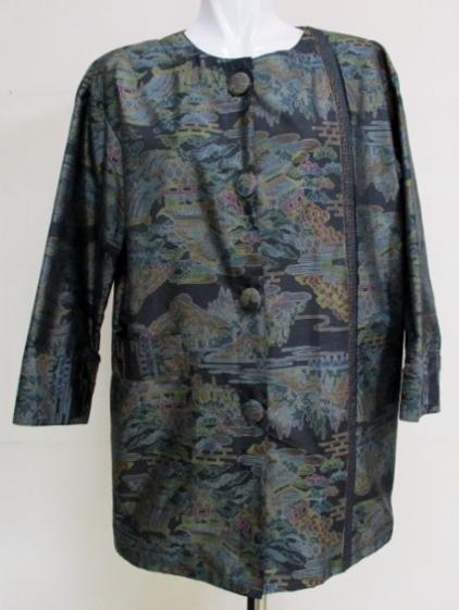 着物リメイク 色大島紬で作ったショートコート 1773