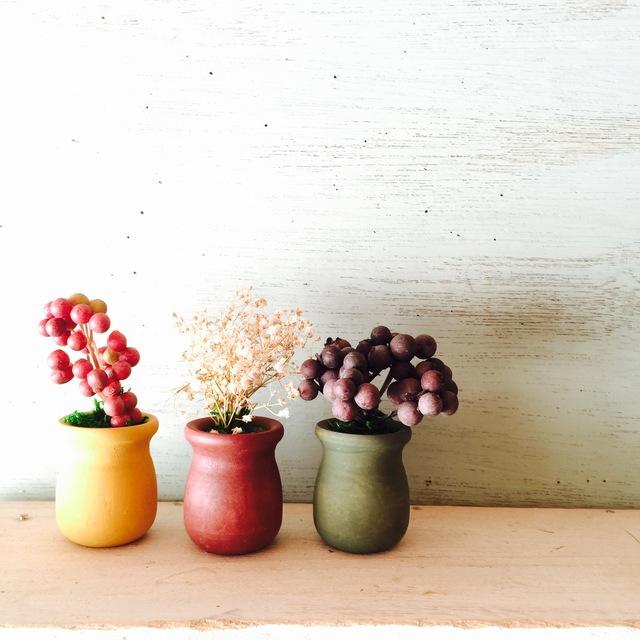 木製ミルクポットの植木鉢 オータム