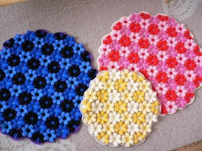【受注製作】手編みの円座 お花モチーフ Lサイズ