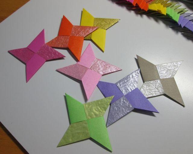 クリスマス 折り紙 折り紙 手裏剣 4枚 : minne.com