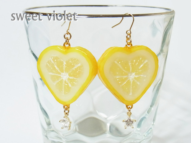 【再々入荷】ハートレモンのピアス