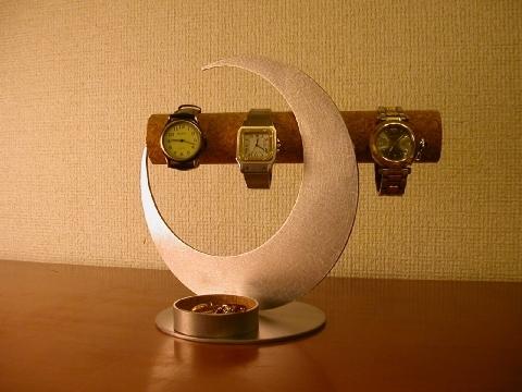 結婚祝いに!三日月ムーン腕時計スタンド 丸トレイバージョン