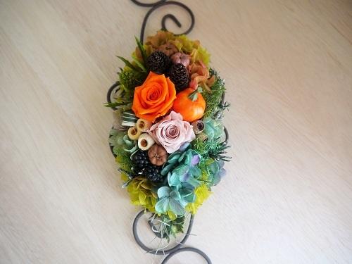 アイアンベースのハロウィン壁飾り・オレンジベーシュ