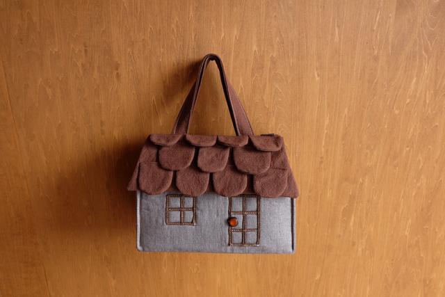 OUCHI box bag S ロング グレー+ブラウン屋根