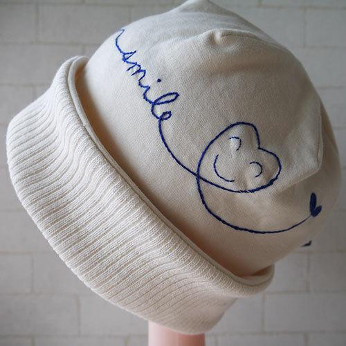 コットン100%ニット生地で作ったニット帽(smile)