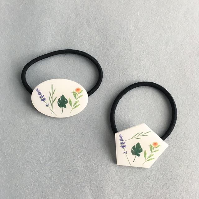 花標本ヘアゴム/ブローチ(ラベンダー)