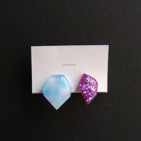 【水音色(Blue×Purple)】×Moderate rose(shell) イヤーカフ