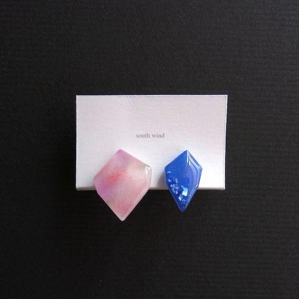 【水音色(Pink)】×Oriental blue(Shell) イヤーカフ
