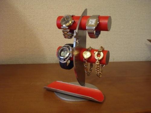 レッド4本掛け飛び出す★トレイ三日月腕時計スタンド