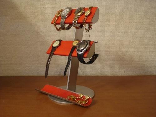 レッド革バンド&メタルバンド4本掛け腕時計スタンド