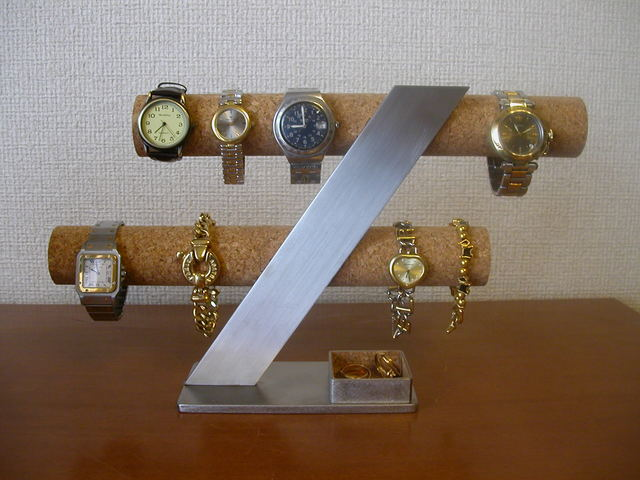 誕生日プレゼントに!6〜8本掛け腕時計スタンド 角トレイバージョン
