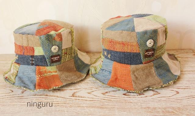 手織り レッド&ブルー&グリーンのHAT