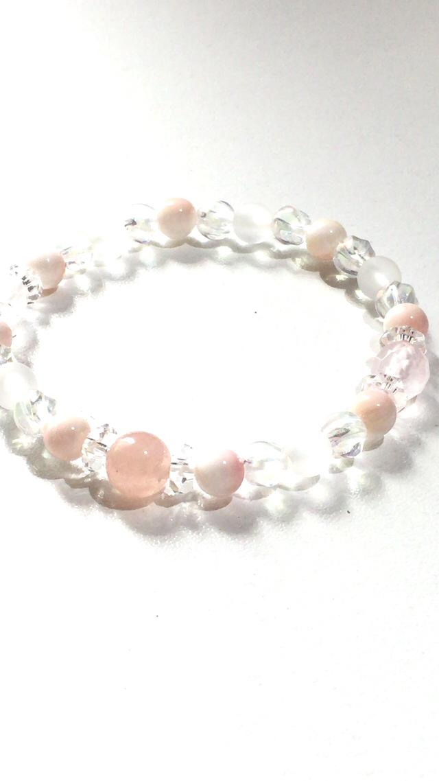 peach*ピンクアクアマリン&シェルのブレスレット