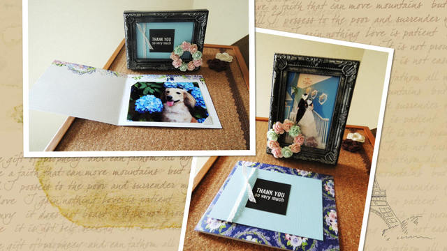バラのリースのミニ写真立て&カードセット<341>