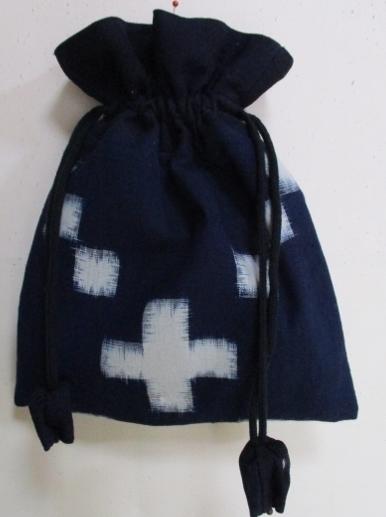 着物リメイク 久留米の絵絣で作った巾着袋 1770