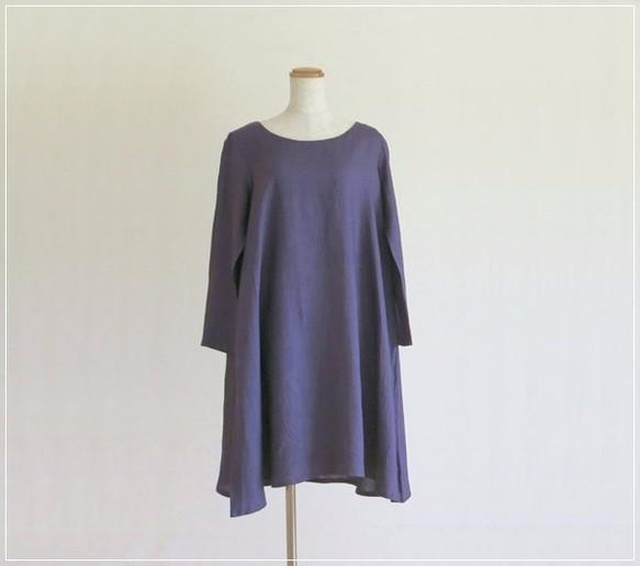 purple* リネンのUネックフレアワンピース