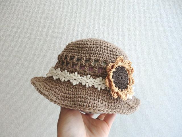 ★a様ご予約品★ ひまわりスリーピンの春夏帽子40cm