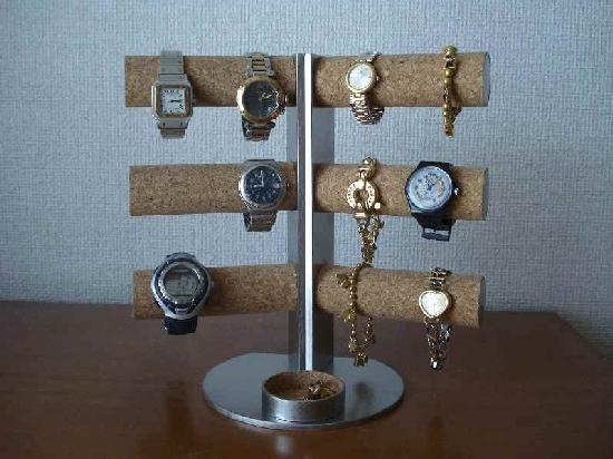 誕生日プレゼントに! 12本掛け角度付き腕時計スタンド 丸トレイ