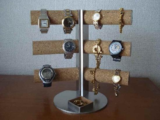 クリスマスプレゼントに! 12本掛け角度付き腕時計スタンド 角トレイ
