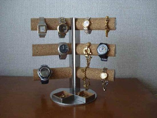 腕時計愛好家に! 12本掛け角度付き腕時計スタンド ダブル角トレイ