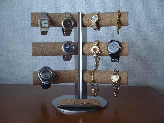 お父さんに!12本掛け角度付き腕時計スタンド ハーフパイプトレイ付き