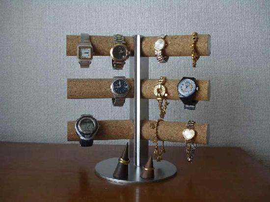 カップルに!12本掛け角度付き腕時計スタンド 木製リングスタンド付き