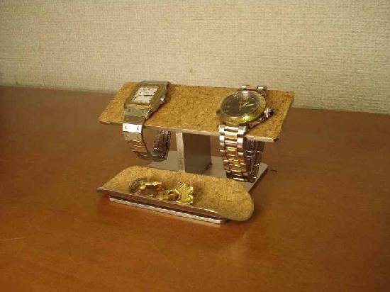 プレゼントに! バーステンレスコルク トレイ付き 腕時計スタンド ak-design