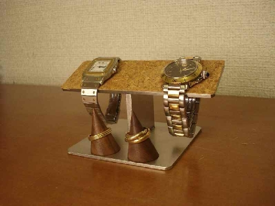 プレゼントに! バーステンレスコルク リングスタンド付き 腕時計スタンド ak-design