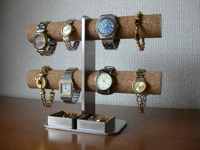 プレゼントに!ダブルトレイ8本掛けインテリア腕時計スタンド ak-design
