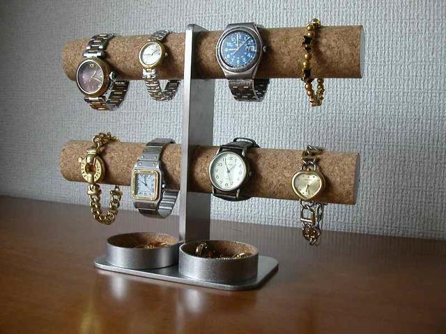 彼氏へのプレゼントに!ダブル丸トレイ8本掛けインテリア腕時計スタンド ak-design