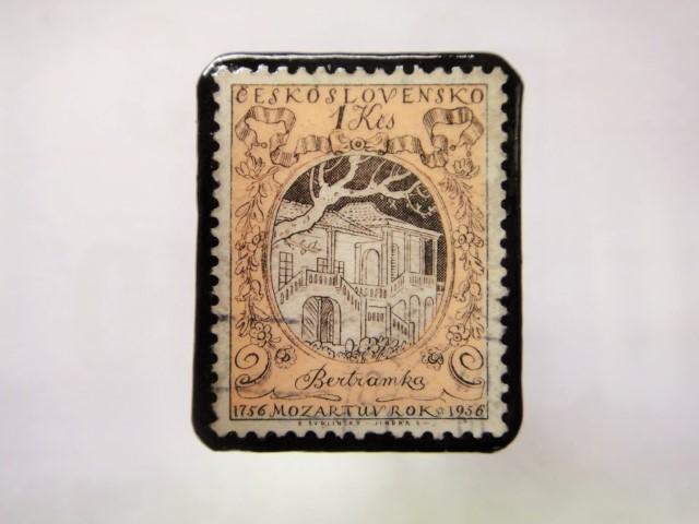 チェコスロバキア  切手ブローチ1436