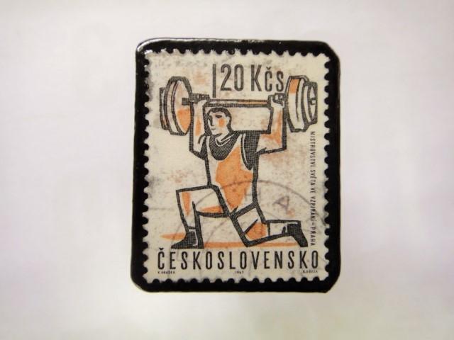 チェコスロバキア  切手ブローチ1443