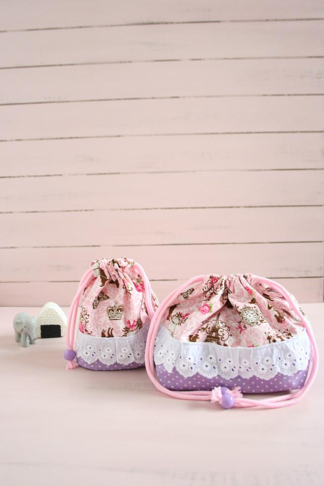 アンティークなネコ達のお弁当袋とコップ袋  pink
