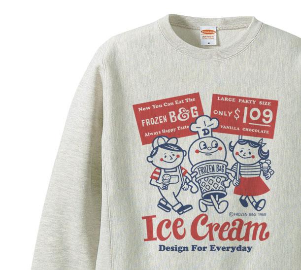 【再販】【厚手生地】アイスクリームBoy&Girl☆アメリカンレトロ 片面 トレーナー【受注生産品】