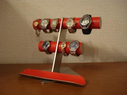 レッド6〜8本掛け腕時計スタンドロングトレイバージョン