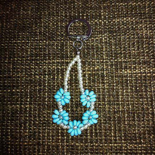 【送料込】水色小花のキーホルダー