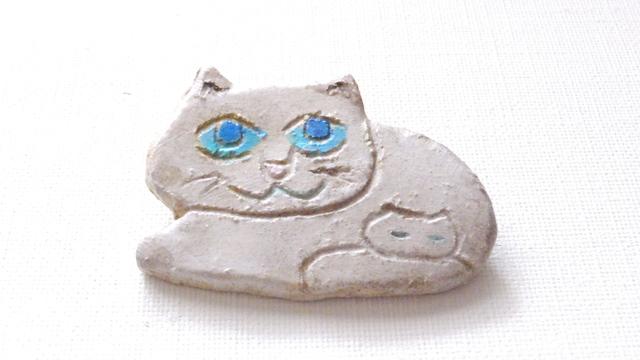 【Autumn Sale】親子ねこさん(白猫)ブローチ(陶器風)