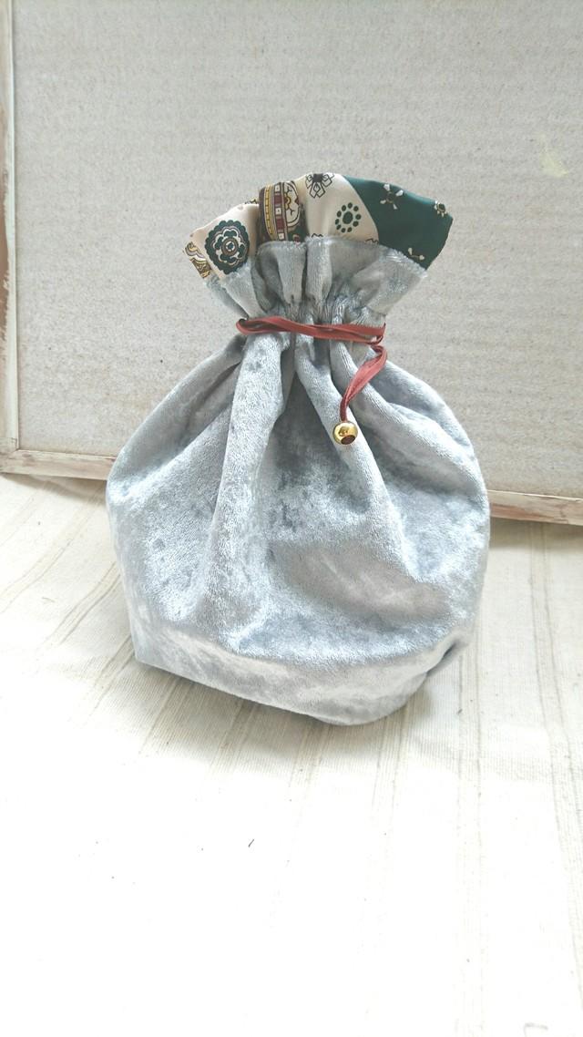 クラッシュベロア  ヴィンテージ巾着袋  ライトグレー