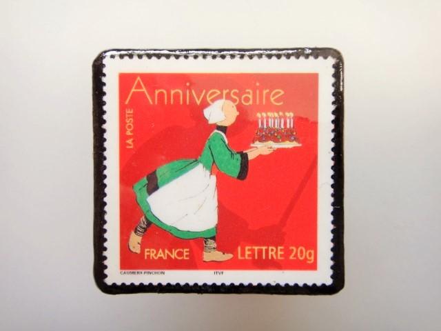 フランス バースデイ 切手ブローチ1444