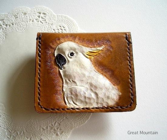 オウム インコ バタン 白色オウム 財布 コインケース 革 カード インコグッズ 鳥