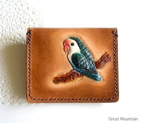 インコ コザクラインコ 財布 鳥グッズ コインケース 革 カード インコグッズ 鳥